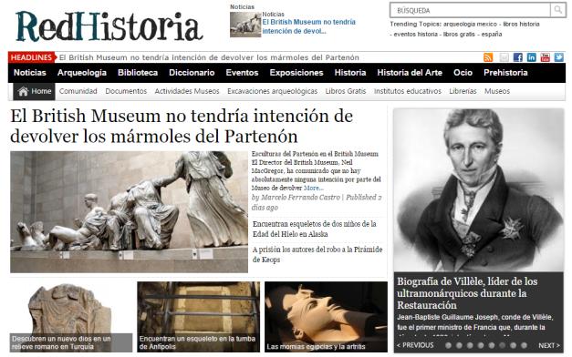 Captura de pantalla general de este espectacular portal de información sobre Historia y arqueología