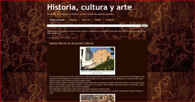 Captura de pantalla general de este gran blog de Historia, cultura y arte