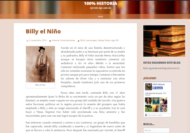 Captura de pantalla general de este gran blog de Historia general para todos los públicos
