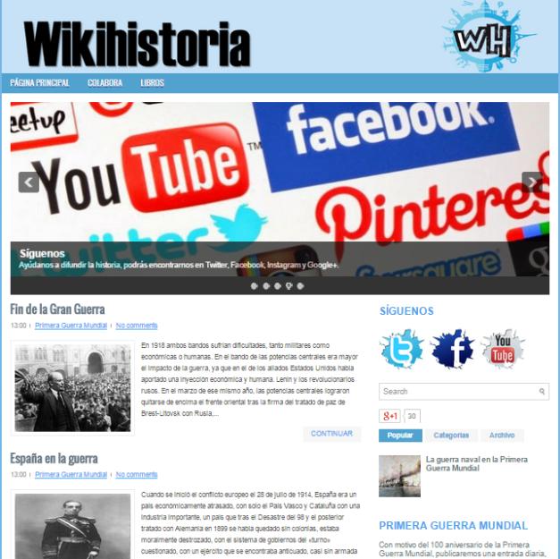 Captura de pantalla general de este gran blog de Historia sencillo, atractivo y ameno