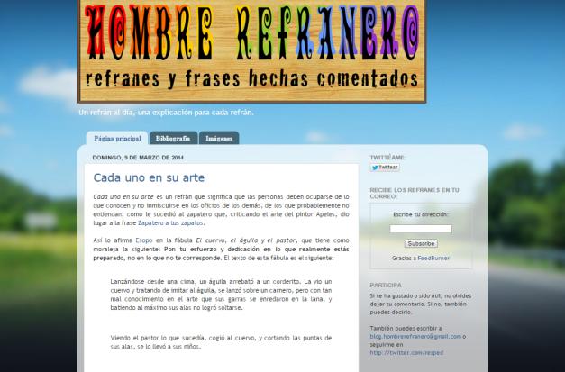 Captura de pantalla general de este interesante blog de refranes y sus significados