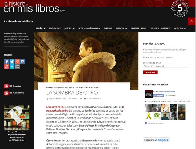 Captura de pantalla general de este magnifico blog de reseñas de novelas históricas