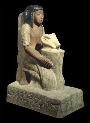 Estatua que estaría representando a un Hijo Real de Kush, actualmente ubicada en el Museo Británico