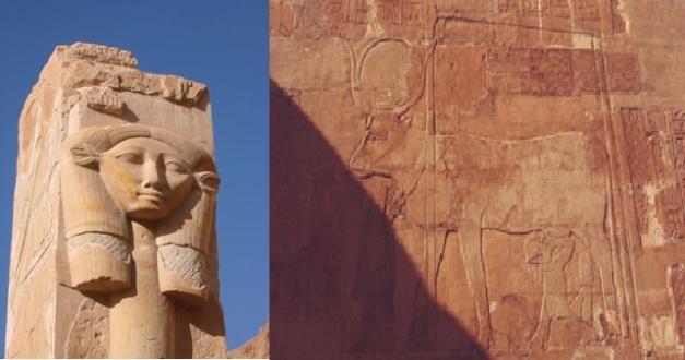 Imagen combinada en la que se ve la diosa con cara de vaca y una representación de la vaca sagrada