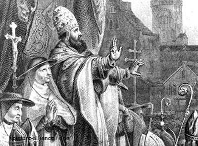 Imagen en la que se representa a Urbano II proclamando la Cruzada a Tierra Santa (1095)