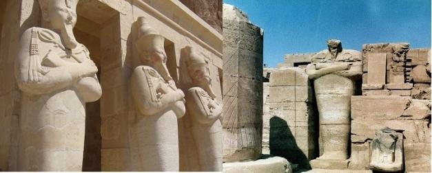 Imagen que compara las columnas osirianas del templo de Hatshepsut con las de Tutmosis I en Karnak