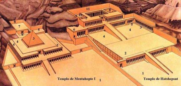 Imagen que muestra una reconstrucción de cómo debieron ser los templos de Deir el Bahari