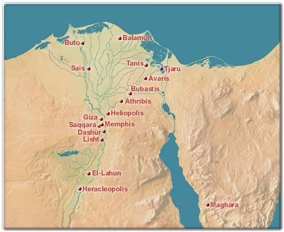 Mapa que muestra algunas de las principales ciudades egipcias en el Delta