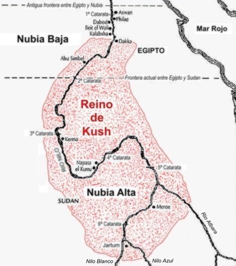 Mapa que muestra aproximadamente la ubicación del reino de Kush, una de las dos mitades de Nubia