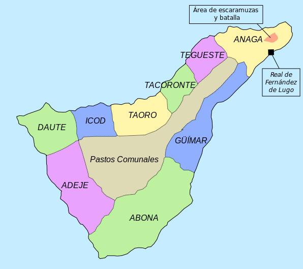 Mapa que muestra aproximadamente las distintas regiones existentes en Tenerife en época prehispánica