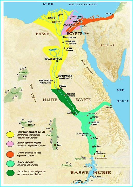 Mapa que muestra la división de los territorios egipcios durante el Segundo Periodo Intermedio
