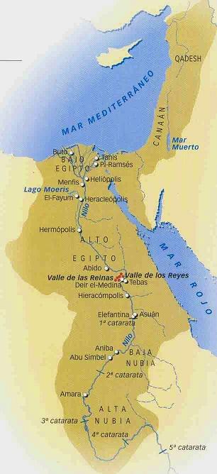 Mapa que muestra la extensión territorial del Egipto de tiempos de Ramsés II