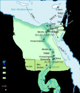 Mapa que muestra las zonas por las que llegaron los hicsos que invadieron Egipto