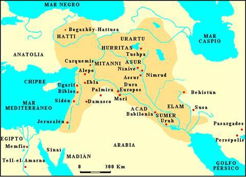 Mapa que muestra un mapa aproximado de Próximo Oriente en el Bronce Reciente