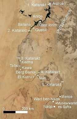 Mapa satélite en el que se puede ver los principales yacimientos en territorio nubio, y entre las cataratas del Nilo