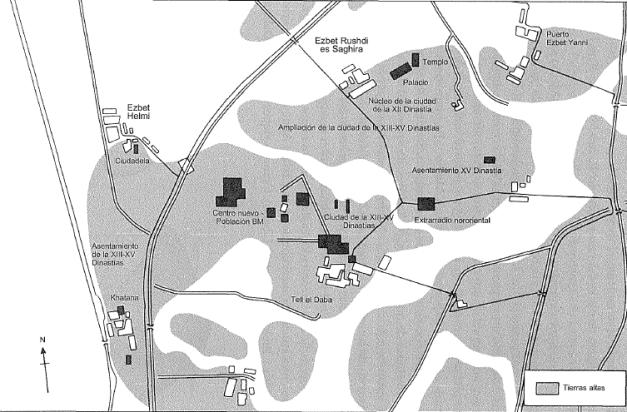 Plano de la ciudad de Avaris, ciudad capital de la dinastía hicsa