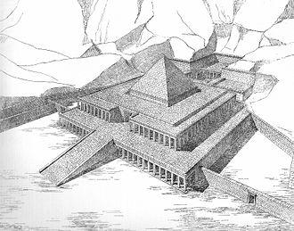 Reconstrucción de cómo habría sido el templo de Montuhotep II, construido siglos antes al de Hatshepsut