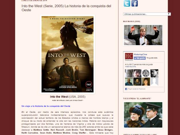 Captura de pantalla de una de las recomendaciones de series históricas de este gran blog