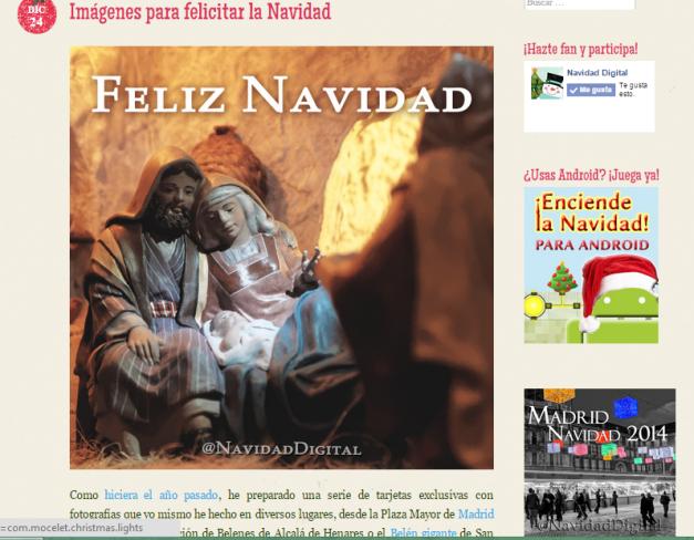 Captura de pantalla de uno de los artículos de este blog navideño