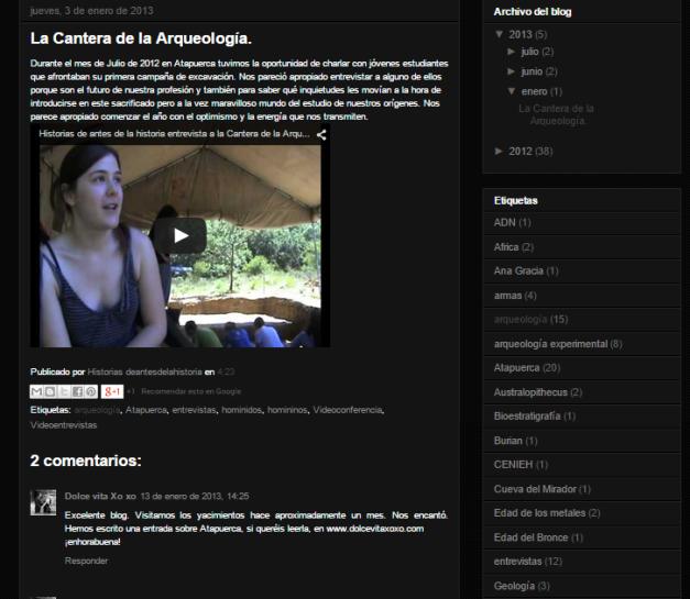 Captura de pantalla de uno de los artículos de este extinto gran blog de paleoantropología