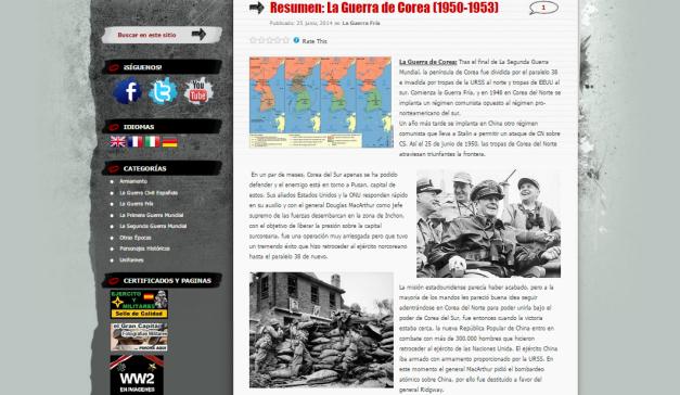 Captura de pantalla de uno de los artículos de este gran blog de Historia militar