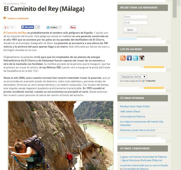 Captura de pantalla de uno de los artículos de este gran blog de turismo histórico