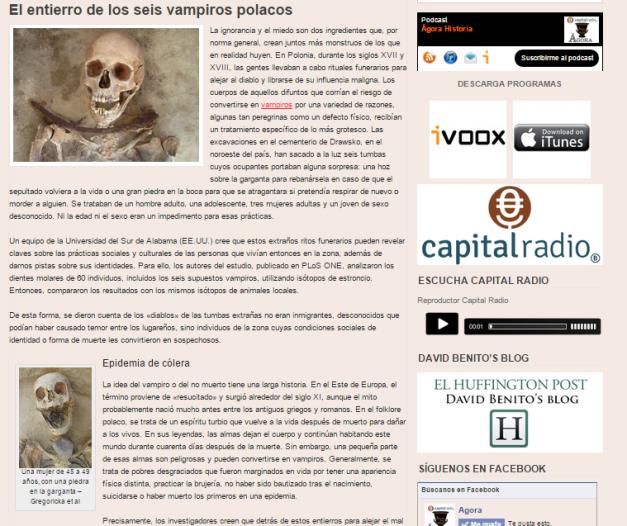 Captura de pantalla de uno de los artículos de este gran blog radiofónico