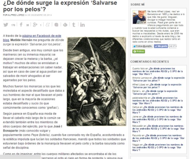 Captura de pantalla del artículo más reciente de este veterano blog de curiosidades
