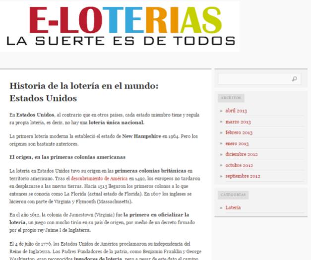 Captura de pantalla general de este blog de Historia y curiosidades de la Lotería