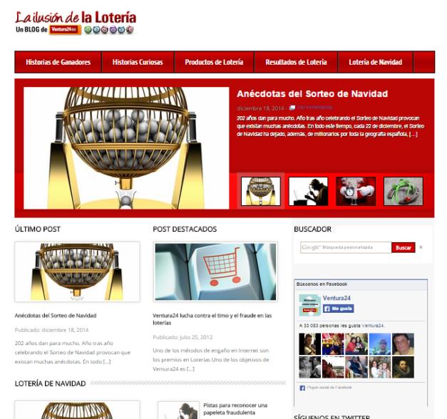Captura de pantalla general de este conocido blog de Loterías