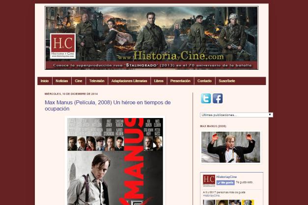 Captura de pantalla general de este excelente blog de recomendaciones cinefilas de Historia