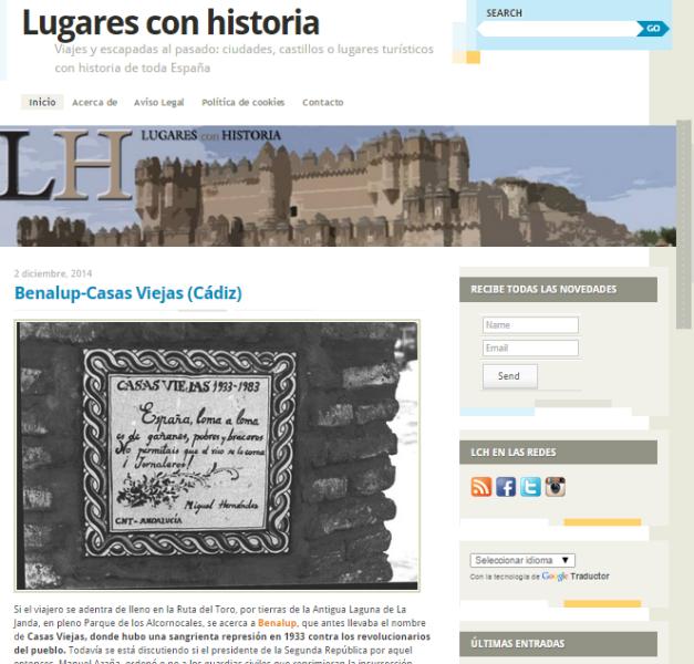 Captura de pantalla general de este gran blog de turismo histórico por España