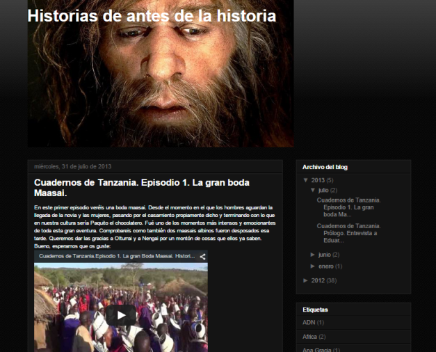 Captura de pantalla general de este gran y extinto blog de paleoantropología