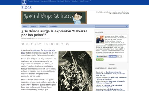 Captura de pantalla general de este veterano y excelente blog de curiosidades