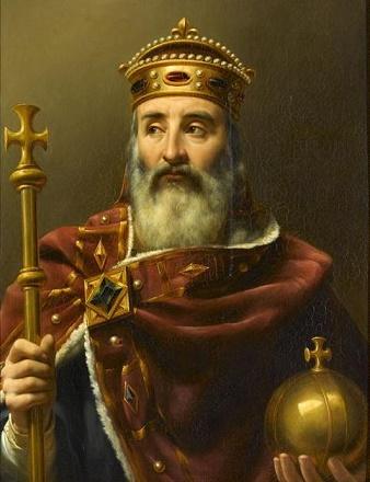 Cuadro de mediados del siglo XIX en el que se representa al emperador Carlos I, conocido como Carlomagno