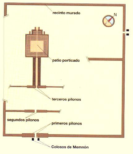 Esta imagen muestra el plano que tendría el templo funerario de Amenhotep III