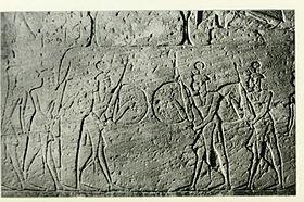 Imagen en el que se vería la escolta personal de Ramsés II, formada por mercenarios shardana
