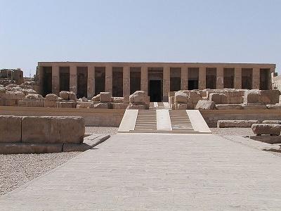 Imagen que muestra el templo cenotafio de Osiris en Abydos