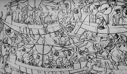 Imagen que muestra una batalla naval entre los egipcios y los pueblos del mar