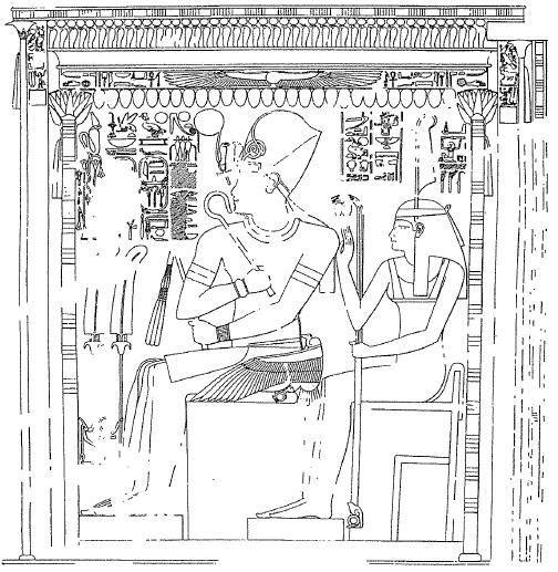 Imagen que representa al rey Amenhotep IV (Akhenaton) antes del periodo amarniense, y acompañado de la diosa Maat