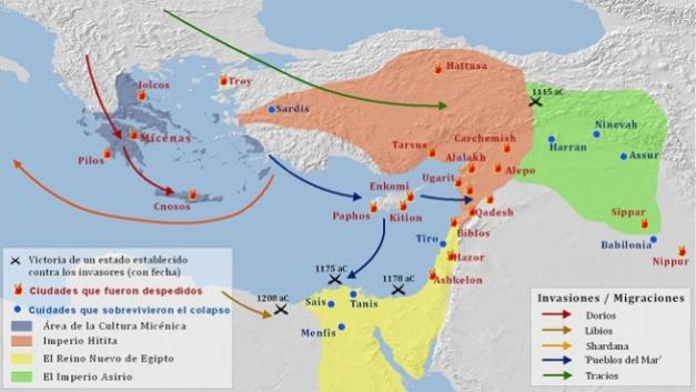 Mapa que muestra las ciudades que cayeron debido a los ataques de los pueblos del mar