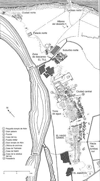 Plano completo del yacimiento de Amarna con las distintas partes que lo componen