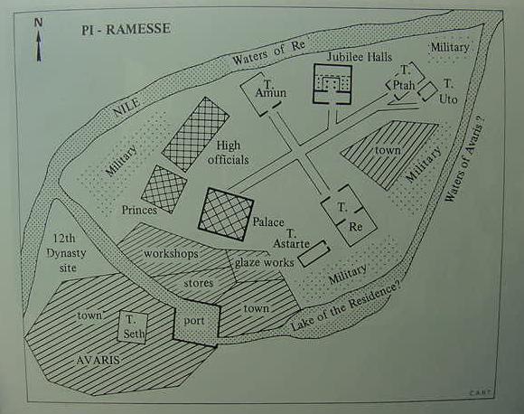 Plano que muestra en inglés las distintas partes de Pi-Ramsés, al lado de la ciudad de Avaris