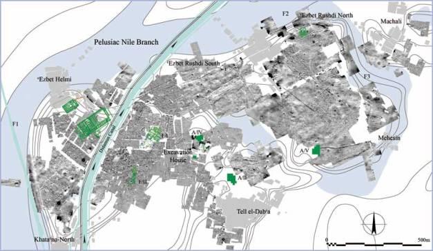 Plano que muestra la ubicación del yacimiento de Tell el-Daba