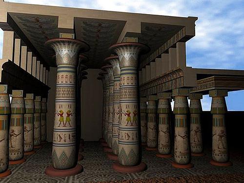 Reconstrucción aproximada de cómo debió ser la Gran Sala Hipóstila de Karnak