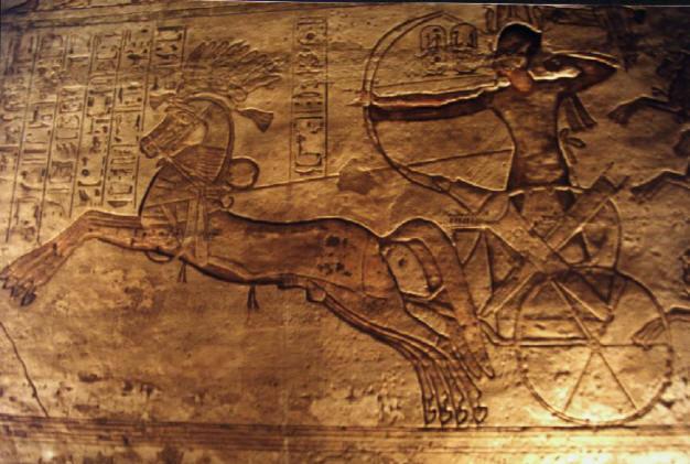 Relieve de Ramsés II en la batalla de Qadesh, en el templo de Abu Simbel