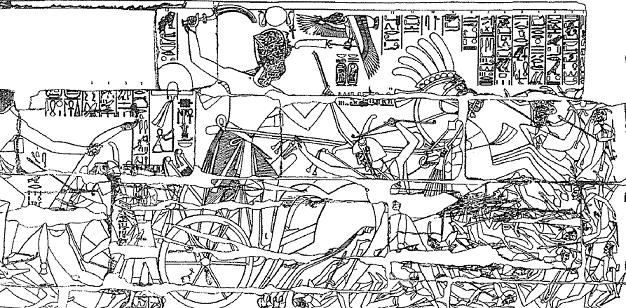 Relieve del templo de Karnak en el que se ve a Seti I en una de sus campañas militares