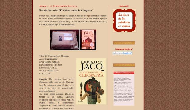 Captura de pantalla de una de las reseñas literarias de este gran y nuevo blog para egiptomaníacos