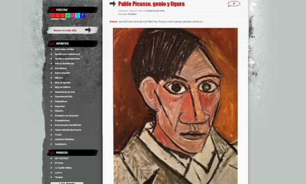 Captura de pantalla de uno de los artículos de este blog de Historia del arte para estudiantes