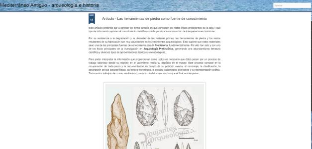 Captura de pantalla de uno de los artículos de este gran blog de Historia y arqueología